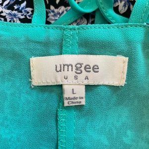 Umgee Tops - Umgee Black Floral Braided Racerback Strap Top